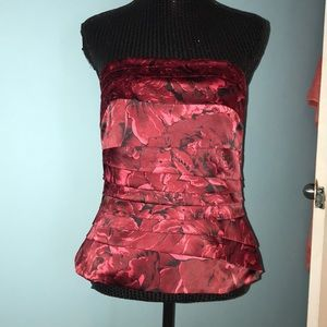 White House Black Market red rose corset top
